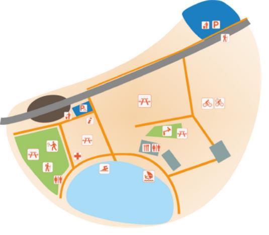 Plan de l'aire respirando du lac de Lavalette